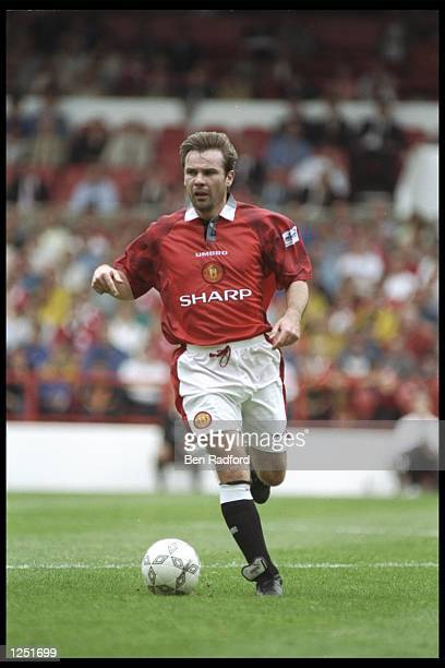 Brian McClair of Manchester United in action during the Umbro Cup preseason tournament at the City Ground in Nottingham Mandatory Credit Ben...