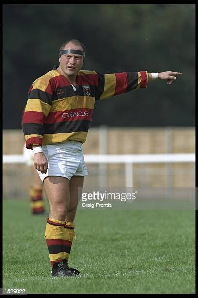 Brian Moore of Richmond points the way during the match between Richmond and Maesteg at Richmond in Surrey Richmond went on to win the game by 913...