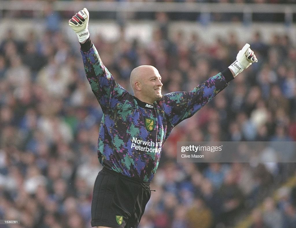 Bryan Gunn of Norwich celebrates his team scorinig during the Nationwide league division one match between Brimingham City and Norwich City at St...