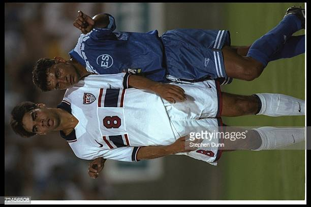 David Wagner and Jorge Rodrigues look on during a game between the United States and El Salvador at the Coliseum in Los Angeles California USA won...