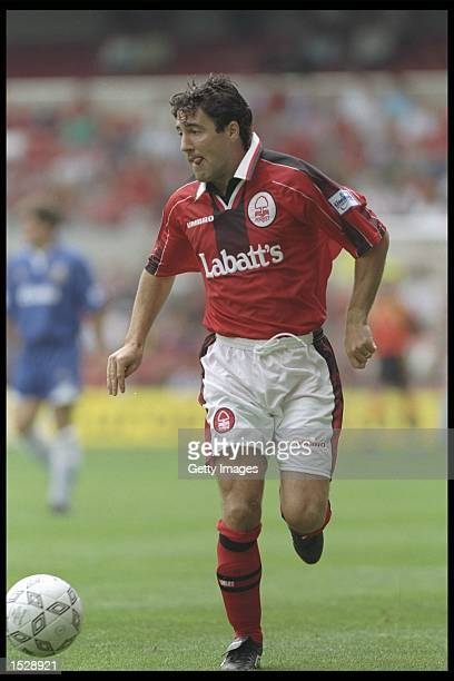 Dean Saunders of Nottingham Forest in action during the Umbro Cup preseason tournament between Ajax Chelsea Manchester United and Nottingham Forest...