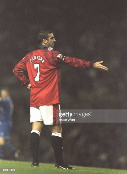 Eric Cantona of Manchester United starts felling frustration during the FA Carling Premier league match against Everton at Old Trafford in Manchester...