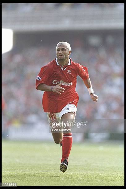 Fabrizio Ravenelli of Middlesbrough in action during the Premier League match between Middlesbrough and Liverpool at the Riverside stadium in...
