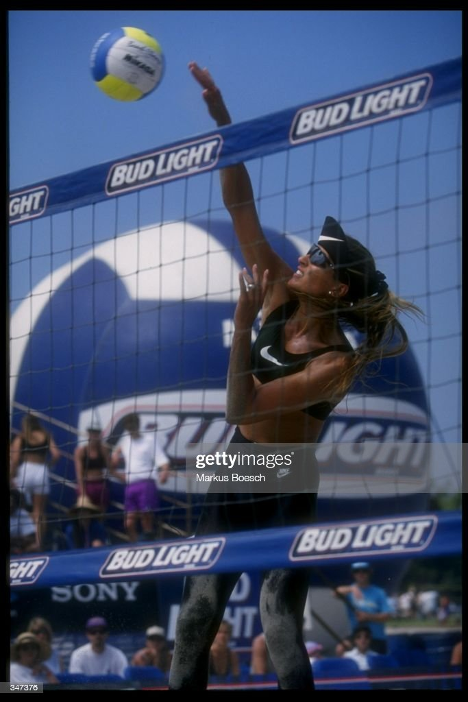 Gabrielle Reece of Team Nike spikes the ball during the 1996 Bud Light Tour in San Diego California Mandatory Credit Markus Boesch /Allsport