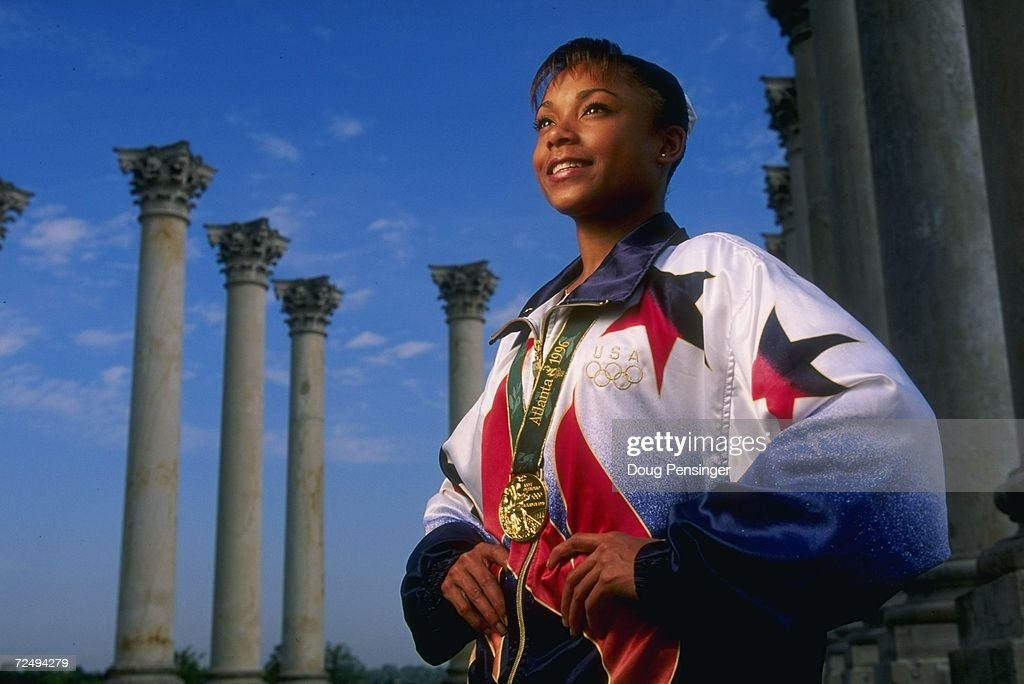 Gymnasts Dominique Dawes of the USA a medalist at the 1996 Centennial Olympic Games in Atlanta Georgia poses outside Washington DC Mandatory Credit...