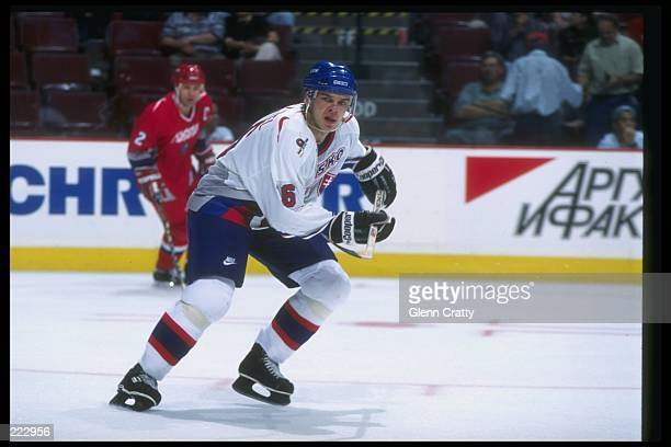 Jozef Stumpel of Slovakia moves down the ice during a World Cup game against Russia at the Molson Center in Montreal Quebec Russia won the game 74...