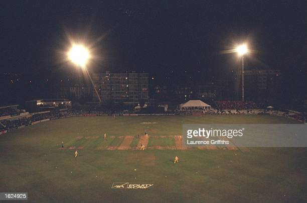 A general view of Hove Cricket Ground under lights during the Sussex v Surrey Sunday League daynight game at Hove in Sussex England Mandatory Credit...