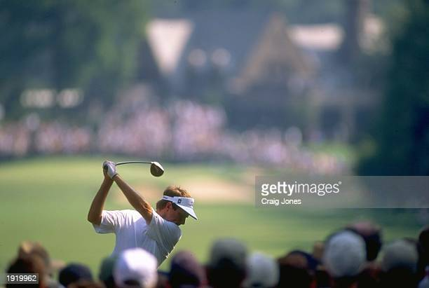 Davis Love III of the USA in action during the PGA Championship at the Winged Foot Golf Course in Mamaroneck New York USA Love won the event...