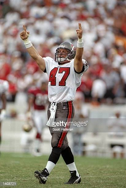 Defensive back John Lynch of the Tampa Bay Buccaneers celebrates during the Buccaneers 136 win over the San Francisco 49ers at Houlihan Stadium in...