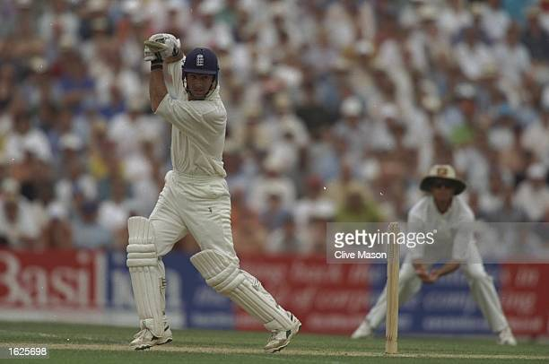 Graham Thorpe of England plays a shot during the sixth test match against Australia at The Oval in London England England won the match by 19 runs...