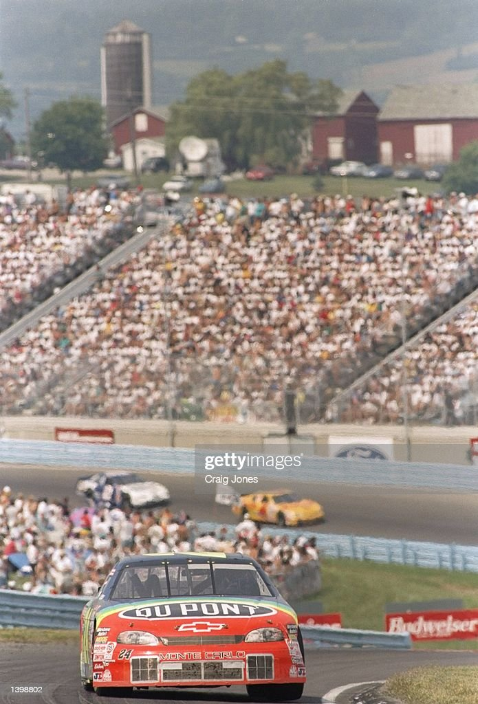 Jeff Gordon in action during the NASCAR Bud at the Glen at Watkins Glen International Speedway in Watkins Glen New York Mandatory Credit Craig Jones...