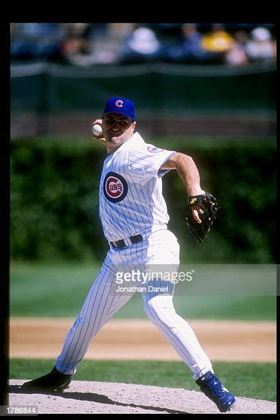 Mark Clark of the Chicago Cubs throws the ball during a game against the Florida Marlins at Wrigley Field in Chicago Illinois The Cubs won the game 43