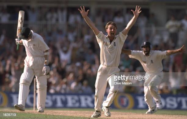 Phil Tufnell celebrates a wicket during the sixth test match against Australia at The Oval in London England England won the match by 19 runs...
