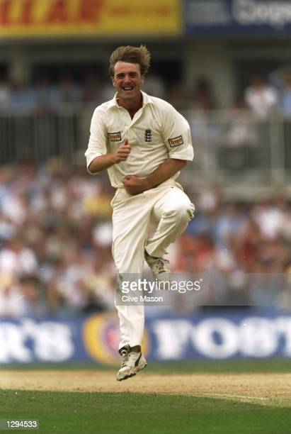 Phil Tufnell of England celebrates his seven wicket haul in the first innings during the Sixth Ashes Test match against Australia at the Kennington...