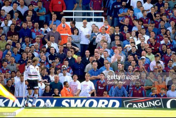 David Beckham of Manchester United faces the hostile West Ham crowd in the FA Carling Premiership game at Upton Park London England The game ended 00...
