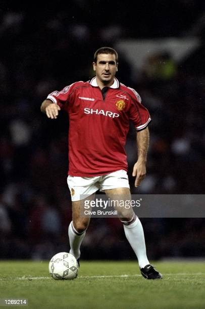 Eric Cantona is back in a Manchester United shirt during the Munich Testimonial match between Manchester United and the Cantona European XI at Old...
