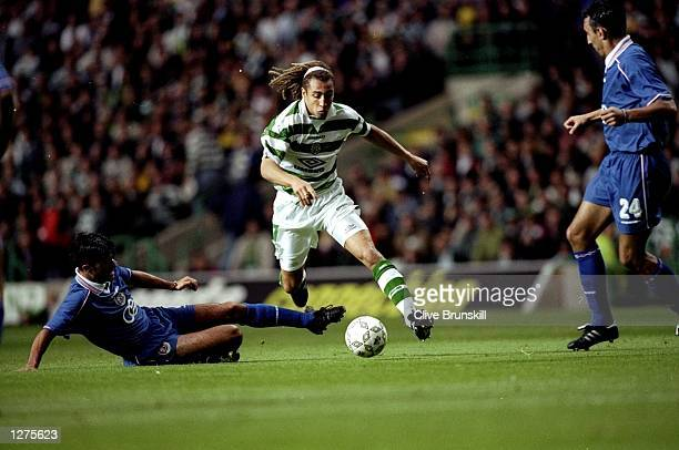 Henrik Larsson of Celtic runs with the ball during the qualifiying match between Celtic v Croatia Zagreb in a Champions League Cup played at the PArk...