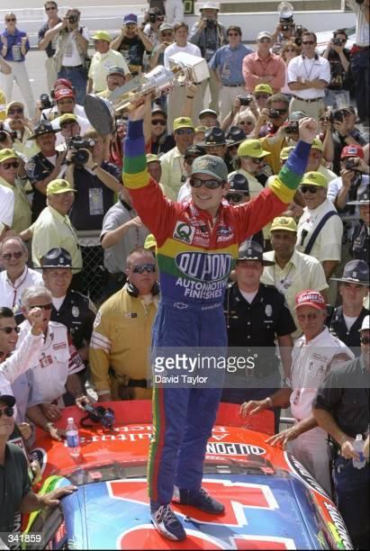 Jeff Gordon celebrates following the NASCAR Brickyard 400 at the Indianapolis Motor Speedway in Indianapolis Indiana Mandatory Credit David Taylor...