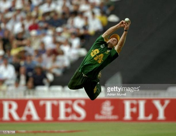 Jonty Rhodes of South Africa catches Robert Croft of England during the Emirates Trophy match at Edgebaston in Birmingham England Mandatory Credit...