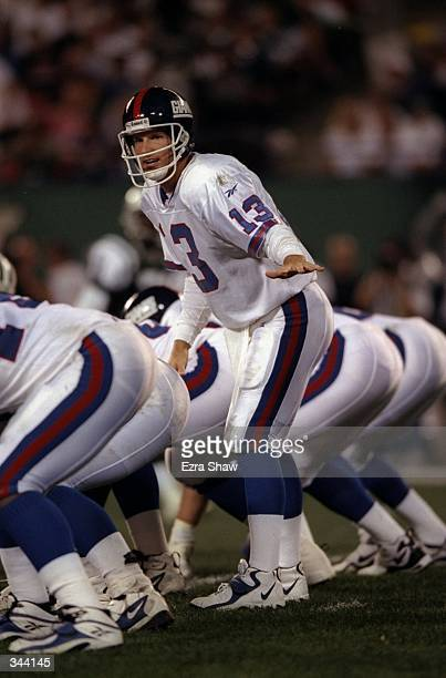 Quarterback Danny Kanell of the New York Giants calls a play during a preseason game against the New York Jets at the Giants Stadium in East...