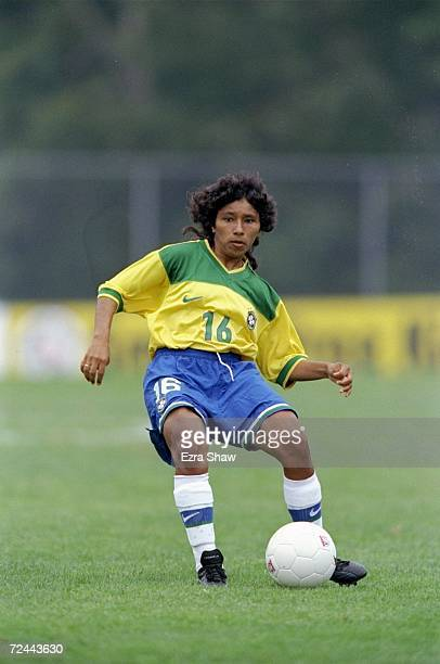 Suzana of the Brazilian Women''s Soccer Team prepares to pass the ball during a game against Russia at Hartwill College in Oneonta New York Russia...