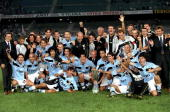 The Lazio squad celebrate after winning the Italian Super Cup against Juventus played in Italy Lazio won the game 21 Mandatory Credit Allsport UK...