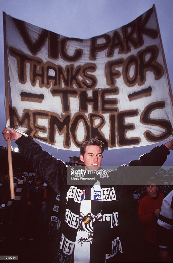 A Collingwood supporter shows his feelings for the last game played at Victoria Park Collingwood with a banner before the AFL round 22 game Collingwood v Brisbane at Victoria Park Collingwood,Victoria,Australia.Brisbane defeated Collingwood. Mandatory Credit: Mark Dadswell/ALLSPORT