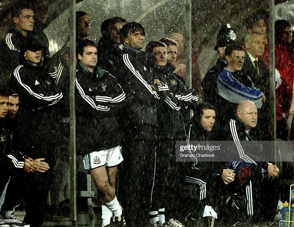 A dejected Ruud Gullit of Newcastle as his side go 2-1 down during the Newcastle United v Sunderland FA Carling Premiership match at St James's Park, Newcastle. \ Mandatory Credit: Graham Chadwick /Allsport