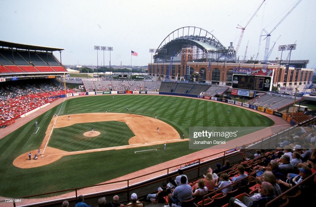 A general view of County Stadium with Miller Park construction in the background during the game against the Los Angeles Dodgers and the the...