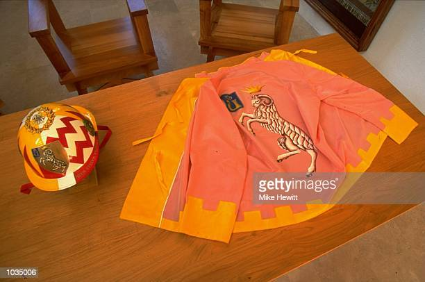 A Jockey's silk jacket and helmet for the Valdimontone during The Palio held in Siena Italy Mandatory Credit Mike Hewitt /Allsport
