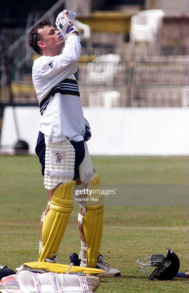 Adam Gilchrist cools off in the stifiling heat, during Australian training at Premadasa Stadium, Colombo, Sri Lanka. Mandatory Credit: Hamish Blair/ALLSPORT