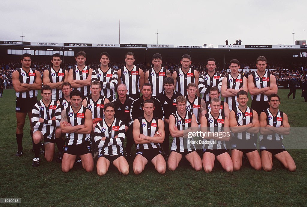 Collingwood football team pose for a team shot before the AFL round 22 game Collingwood v Brisbane at Victoria Park.This was the final game played at Victoria Park before moving to a new venue for the 2000 AFL season. Collingwood,Victoria,Australia.Brisbane defeated Collingwood. Mandatory Credit: Mark Dadswell/ALLSPORT