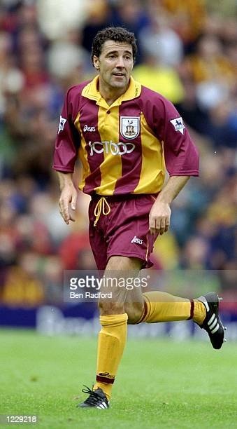 Dean Saunders of Bradford City in action during the FA Carling Premiership match against Sheffield Wednesday played at Valley Parade in Bradford...