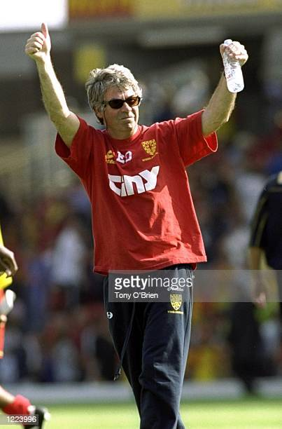Egil Olsen the manager of Wimbledon salutes the fans during the FA Carling Premiership match against Watford played at Vicarage Road in Watford...