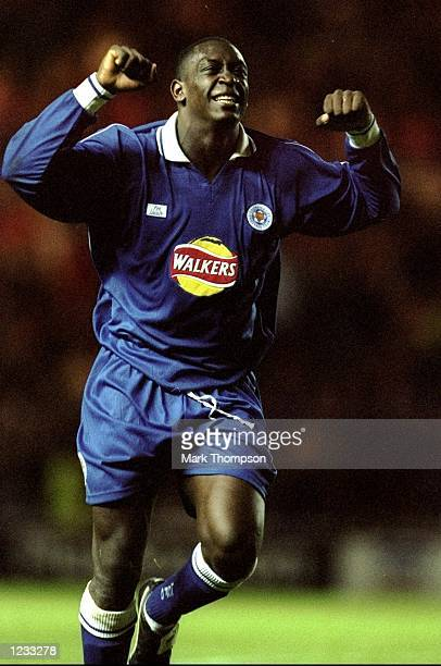 Emile Heskey of Leicester celebrates scoring the third Leicester goal during the Middlesbrough v Leicester City FA Carling Premiership match at The...