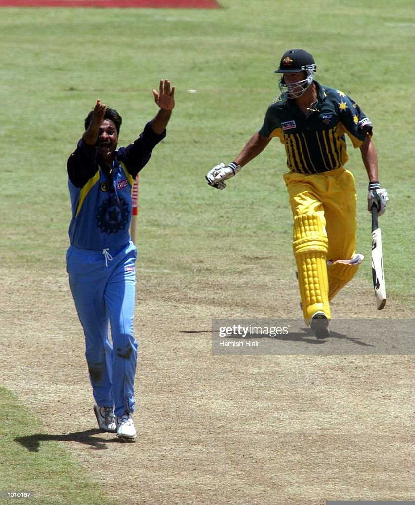 Javagal Srinath of India, appeals against Andrew Symonds of Australia, during the match between India and Australia at Singhalese Stadium, Colombo, Sri Lanka. Mandatory Credit: Hamish Blair/ALLSPORT
