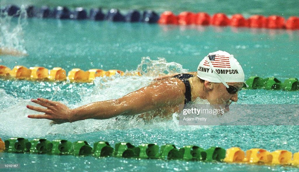 Jenny Thompson of the USA in action as she sets a New World Record in the womens 100 metres butterfly final with a time of 57.88 seconds during day two of the Pan Pacific Swimming Championships at the Aquatic Centre, Homebush, Sydney, Australia. Mandatory Credit: Adam Pretty/ALLSPORT