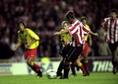 Kevin Phillips of Sunderland takes a penalty and scores a goal during the FA Carling Premiership match against Watford played at the Stadium of Light...
