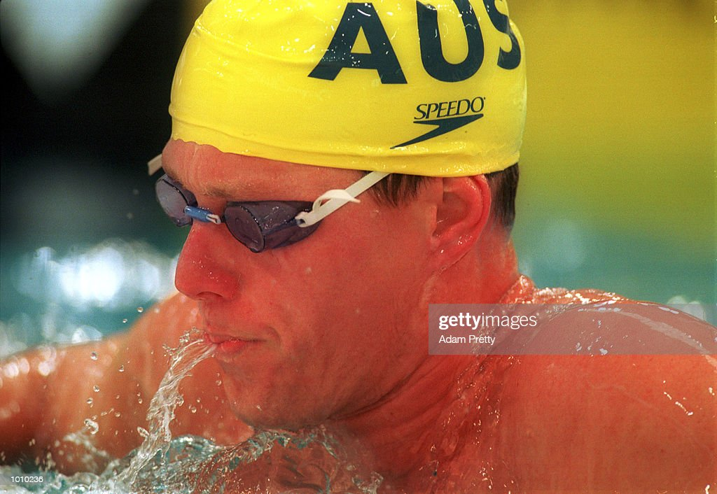 Kieren Perkins of Australia is dejected after he failed to make the final of the mens 1500 metres freestyle during day seven of the Pan Pacific Swimming Championships at the Aquatic Centre, Homebush, Sydney, Australia. Mandatory Credit: Adam Pretty/ALLSPORT