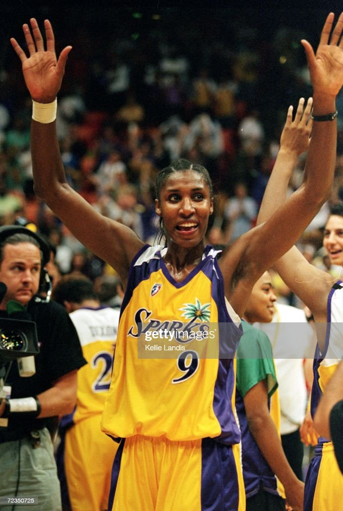 Lisa Leslie of the Los Angeles Sparks celebrates after the WNBA West Conference Finals against the Houston Comets at the Great Western Forum in...