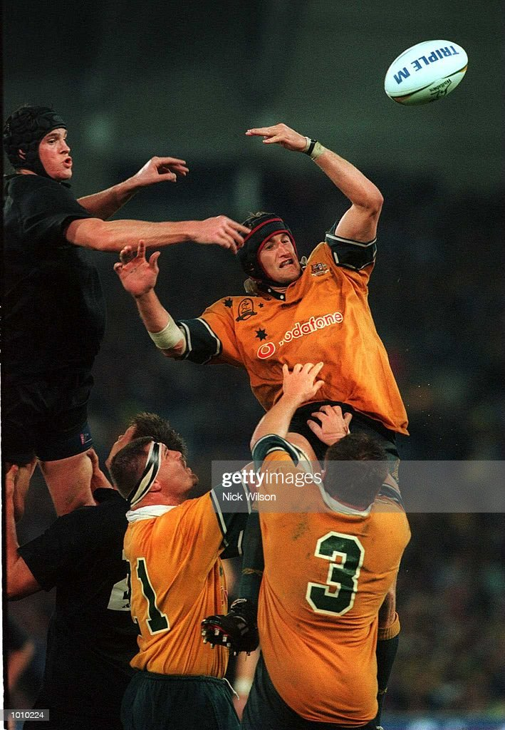 Norm Maxwell of New Zealand and Mark Conners of Australia compete for the lineout ball in front of a new world record crowd of 108,000 for a rugby union international during the Bledisloe Cup game at Stadium Australia, Homebush, Sydney, Australia. Australia won 28-7. Mandatory Credit: Nick Wilson/ALLSPORT