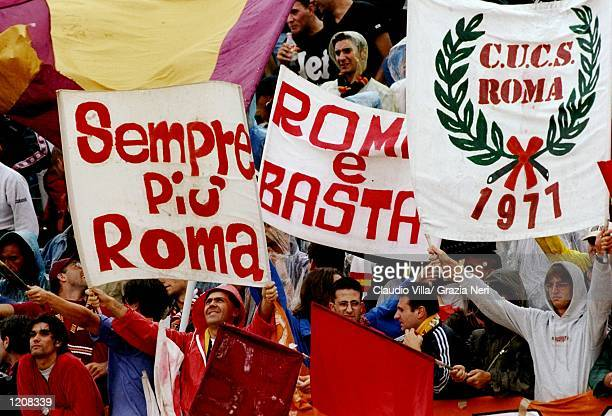 Roma fans during the Serie A match against Piacenza at the Stadio Galleana in Piacenza Italy Mandatory Credit Claudio Villa /Allsport