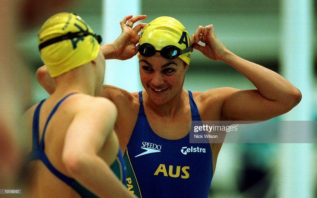 Sam Riley of Australia looks on during training for the Pan Pacific Swimming Championships at the Aquatic Centre Homebush Sydney Australia Mandatory...