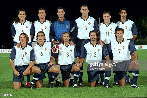 The Portugese team pose for a group shot before the International Friendly against Andorra in Portugal Picture NunoCorreria Mandatory Credit Allsport...