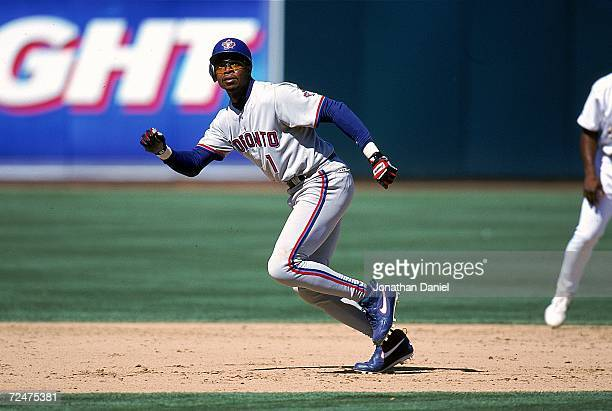 Tony Fernandez of the Toronto Blue Jays runs to a base during a game against the Oakland Athletics at the Network Coliseum in Oakland California The...