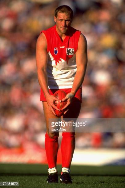 Tony Lockett of the Sydney Swans in action during the AFL Round 22 match played at Waverley Park in Melbourne Australia This was the last AFL game at...