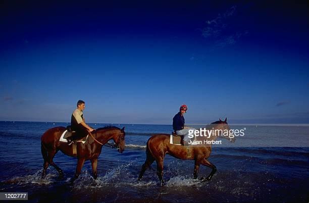 Training on the beach at Deauville in France Mandatory Credit Julian Herbert /Allsport
