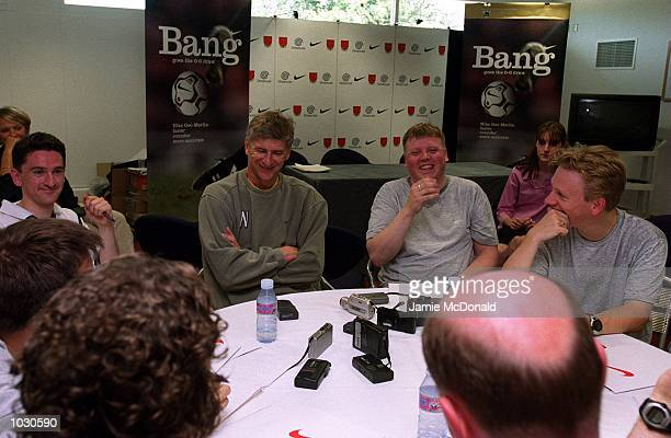 Arsene Wenger manager of Arsenal talks to the press about the New Nike Geo Merlin Balls which will be used in the 20002001 Premiership Season held at...