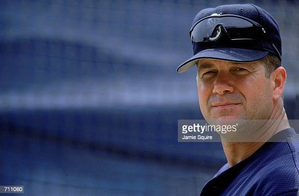 Edgar Martinez of the Seattle Mariners watches the action during the game against the New York Yankees at Yankee Stadium in the Bronx New York The...