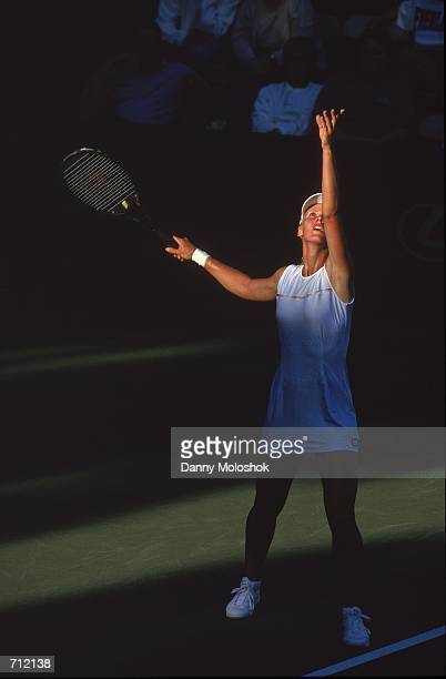 Elena Dementieva serves the ball during the match against Lindsay Davenport for the eStyleCom Classic part of the WTA Tour at the Manhattan Country...